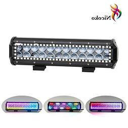 Nicoko 12 inch 72w Led Light Bar with Chasing RGB Halo 10 so