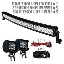 SLDX 180W 32inch Curved LED Light Bar+one-to-one Wiring Harn