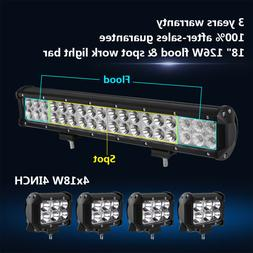 "18Inch 126W LED Work Light Bar + 4X 4"" 18W Offroad Driving L"