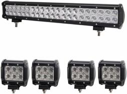 Bangbangche 1X 20'' 126W Combo CREE LED Light Bar and 4X 4''