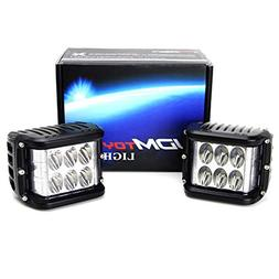iJDMTOY  White LED Pod Lamps w/Amber Side Strobe Lights For