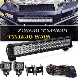 20 IN LED Light Bar W/2pcs Spot Pods Cubes Switch Harness Fi