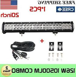 20'' 126W Cree LED Work Light Bar Offroad Boat Lamp Spot Flo