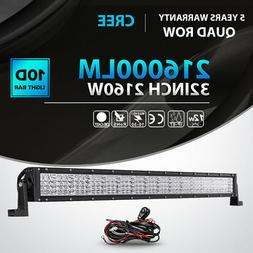 "2160W 32""INCH LED LIGHT BAR SPOT FLOOD COMBO Quad ROW OFFROA"