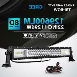 "22"" inch 1296W LED Light Bar Spot Flood Bumper Driving Offro"