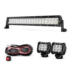 Nilight 22Inch 120W Spot Flood Combo Led Light Bar 2PCS 4Inc