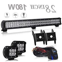 UNI FILTER 28 Inch 180W LED Light Bar Offroad + 2PCS 4 Inch