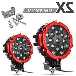 """2PACK 7"""" LED Offroad Pod Lights Bar 51W with Mounting Bracke"""