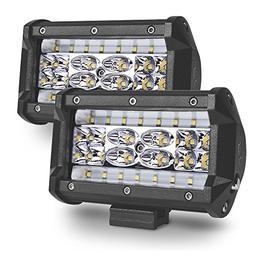 MICTUNING 2Pcs 5inch LED Pods Quad-Row Off Road LED Light Ba