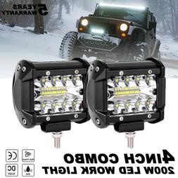 2X 4 Inch 200W CREE LED Work Light Bar Pods Flush Mount Comb