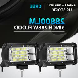 """2X 5""""Inch 288W Cree Led Work Light Bar FLOOD Offroad fit for"""