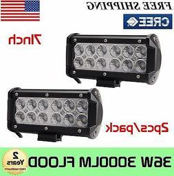"2X 7""inch 36W CREE LED Work Light Bar Flood Lights Driving 4"