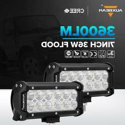 "2X AUXBEAM 7""inch 36W LED Work Light Bar FLOOD Offroad Drivi"