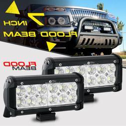 2x 7INCH 36W FLOOD CREE LED WORK LIGHT BAR OFFROAD ATV FOG T