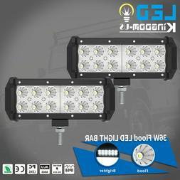 2x 7inch 72W LED Work Light Bar Flood Spot Combo Fog Lamp Of