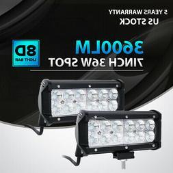 2x 7INCH 36W CREE LED WORK LIGHT BAR SPOT OFFROAD ATV FOG TR