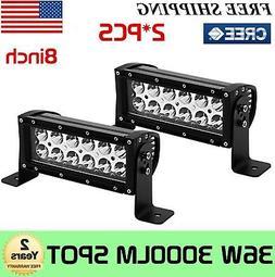 "2x 8""inch 36W Spot CREE LED Work Light Bar Driving Offroad L"