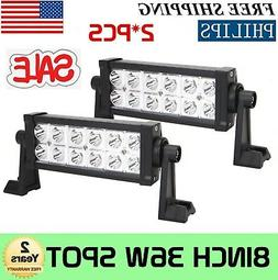 2PCS 8INCH 36W LED WORK LIGHT BAR SPOT DRIVING OFFROAD LAMP