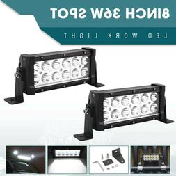 2X 8INCH 36W LED WORK LIGHT BAR FLOOD BEAM OFFROAD DRIVING L