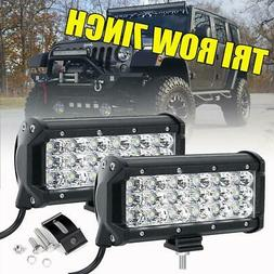 2X Tri-Row 7Inch 180W Cree Led Work Light Bar SPOT Offroad D