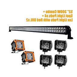 """Eyourlife 300W 52"""" LED Light Bar Wiht 2 Pair of 18W 4Inch LE"""
