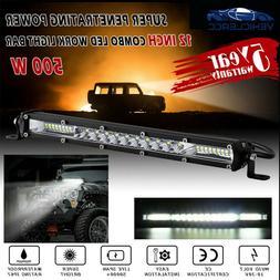 "450000LM 12"" inch 450W LED Work Light Bar Combo Spot Flood D"