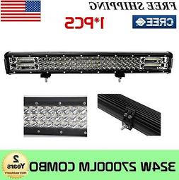 "324W 26"" Tri-row LED Work Light Bar Offroad Driving Ford Bum"