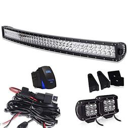 40-42In Curved Led Light Bar On Grille Front Bumper Roof Rac