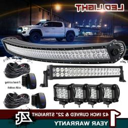 "42INCH CURVED LED LIGHT BAR+22 IN+4"" CREE PODS OFFROAD SUV 4"