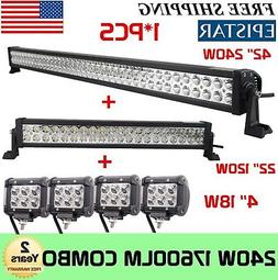 "42Inch LED Light Bar Combo + 22in +4"" CREE PODS OFFROAD SUV"