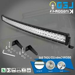 4D 42inch 560W Curved LED Light Bar Flood Spot Combo Off roa