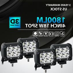4x 4INCH 72W LED WORK LIGHT BAR SPOT OFFROAD SUV ATV FOG TRU
