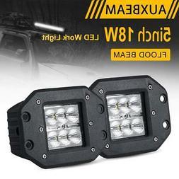 """AUXBEAM 5"""" 18W FLUSH MOUNT FLOOD LED WORK LIGHT BAR PODS for"""