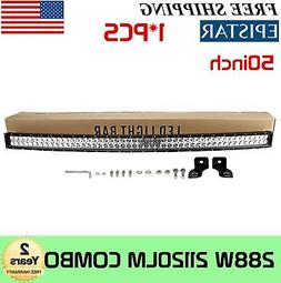 50INCH 288W CURVED LED WORK LIGHT BAR COMBO BEAM Offroad 4WD
