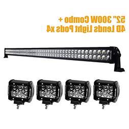 """Eyourlife 52"""" LED Light Bar 300W Driving Lights Off Road Wit"""