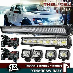 "54Inch Curved LED Light Bar+23 inch+4"" 18W PODS OFFROAD SUV"