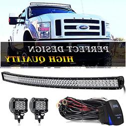 TURBOSII 54 Inch Curved Led Light Bar Spot Flood Combo Offro