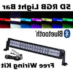 omotor 5D 22 Inch RGB Cree Led Work Light Bar APP Bluetooth