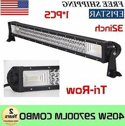 """32""""inch 405W Tri-Row LED Work Light Bar Offroad Combo Truck"""