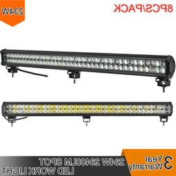 8pcs 234W LED 8D Reflector Light Bar Flood Spot Combo 12V 24