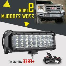 9INCH 270W CREE LED LIGHT BAR SPOT FLOOD COMBO BEAM TRI ROW