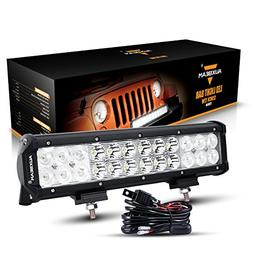 Auxbeam 12 Inch LED Light Bar with Wiring Harness 72W 7200lm