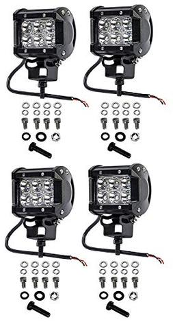 Cutequeen 4 X 18w 1800 Lumens Cree LED Spot Light for Off-ro