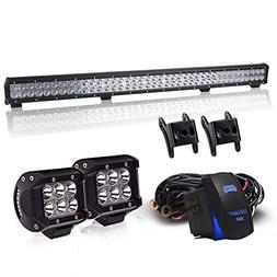 DOT 36Inch 234W LED Light Bar Offroad + 2PCS 4In 36W Cube Po