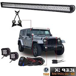 "DOT 52Inch LED Light Bar Offroad Led Work Lights + 2PC 4"" Po"