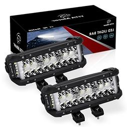 LED Light Bar, YITAMOTOR 2PCS 102W 8 Inch Light Bar Spot Flo