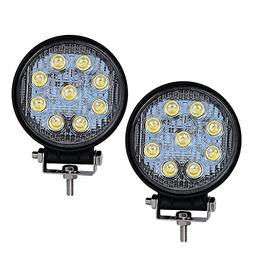 LED Light Bar YITAMOTOR 2PCS 4Inch 27W Round LED Work Light