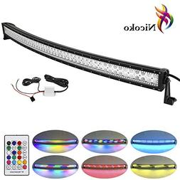 Nicoko 52 Inch 300w Curved Led Light Bar with Chasing RGB ha