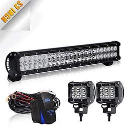 TURBOSII 22/23 Inch Led Light Bar 144w 14400LM Spot Flood Co