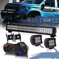 "TURBOSII 23"" inch Led Light Bar 144w Spot Flood Combo Beam O"